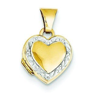 14K Two Tone Gold Heart Locket Pendant Jewelry New A Locket Necklaces Jewelry