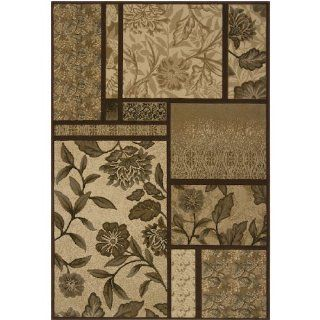 5.25' x 7.5' Catania Fiore Bronze and Coffee Bean Rectangular Area Throw Rug