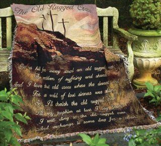 """Old Rugged Cross"" Needlepoint Style Christian Tapestry Blanket 50"" X 60""   Throw Blankets"