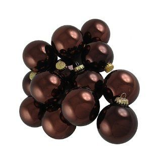 Club Pack of 36 Shiny Chocolate Brown Glass Ball Christmas Ornaments 2.75""