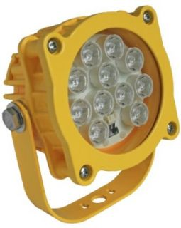 "Phoenix DL Aluminum Modular LED Loading Dock Light Head with Safety Yellow Powder Coat Finish, 16W, 100V 240V, 5"" Diameter x 6 51/64"" Height Perimeter Lighting"