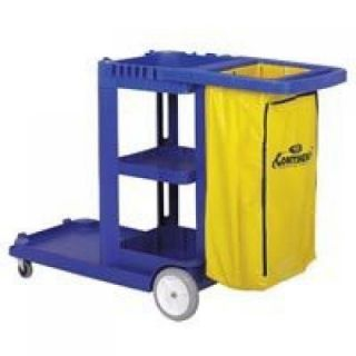 Continental Commercial 184BL Light Duty Janitorial Cart, Blue Plastic Tools