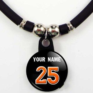 Miami Marlins Personalized Baseball Jersey Necklace with Your Name and Number Jewelry