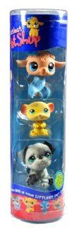 "Hasbro Year 2007 Littlest Pet Shop Tube ""Winter Season"" Series 3 Pack Bobble Head Pet Figure Set #63439   Light Brown Baby Lamb (#447) with Scarf, Yellow Mouse (#448) and Grey Bulldog (#446) Toys & Games"