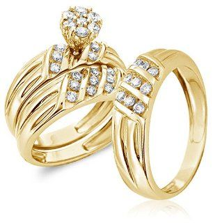 Size   4   14k Yellow Gold Diamond Mens and Ladies Couple His & Hers Trio 3 Three Ring Bridal Matching Engagement Wedding Ring Band Set Invisible Channel Set Solitaire Style Center Setting with Side Stones Round Cut Diamond Ring (1.00 cttw, G   H Color