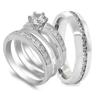 4 pcs His and Hers STAINLESS STEEL wedding engagement ring set (Size Men's 11 Women's 6) Jewelry