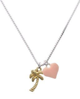 Gold Palm Tree and Pink Heart Charm Necklace [Jewelry] Pendant Necklaces Jewelry