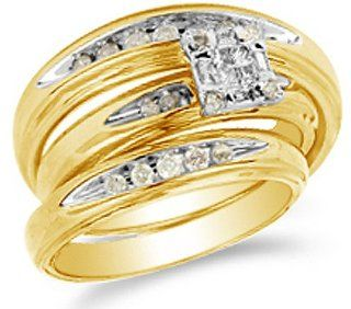 "14K Two Tone Gold Brown Chocolate Diamond Mens and Ladies His & Hers Trio 3 Three Ring Matching Engagement Wedding Ring Band Set   Square Princess Shape Center Setting w/ Channel Set Round Diamonds   (2/5 cttw)   SEE ""PRODUCT DESCRIPTION"" TO"