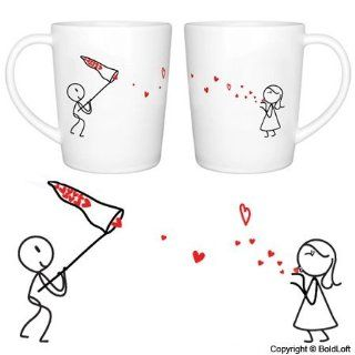 "BoldLoft ""Catch My Love"" His and Hers Coffee Mugs Valentines Day Gifts for Him for Her,Valentines Day Gifts for Girlfriend Boyfriend,Cute Couple Gifts,Romantic Anniversary Gifts,Wedding Gifts for Couple Kitchen & Dining"
