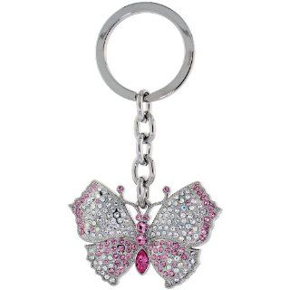 "Large Butterfly Key Chain, Key Ring, Key Holder, Key Tag , Key Fob, w/ Clear & Pink Topaz color Swarovski Crystals, 3 1/2"" tall Jewelry"