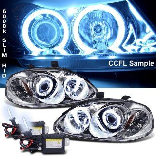 Eautolight 6000k Slim Xenon HID Kit + 96 98 Honda Civic Ccfl Halo Projector Head Lights Lamps Automotive