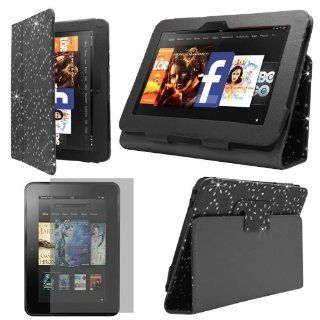 "Sleek Gadgets   Black Diamond Floral Flower Case Cover with Viewing & Typing Stand & Screen Protector for Kindle Fire HD 7"" (2012) Computers & Accessories"
