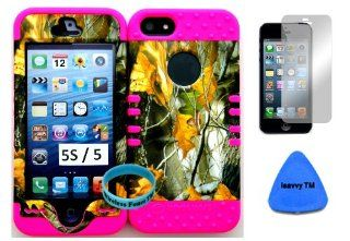 Apple Iphone 5S/5 Camo Mossy Dry Leaves Hunter Series on Pink Silicone Gel Hybrid Dual Layer Case Cover (Included Wristband, Pry Tool and Screen Protector Exclusively By Wirelessfones TM) Cell Phones & Accessories