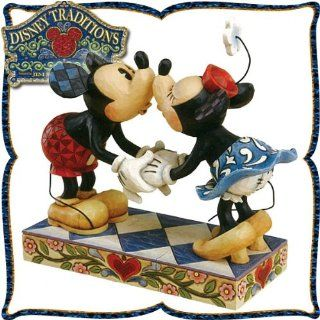 "Kissing Minnie Mouse and wood carving like figure Mickey Mouse ""kiss of Mickey and Minnie"" to (make sure love to kiss) Smooch For My Sweet(japan import) Toys & Games"