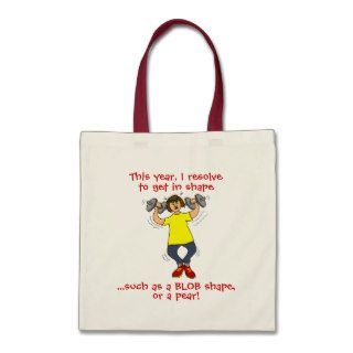 Funny Exercise New Years Resolution Cartoon Tote Canvas Bag