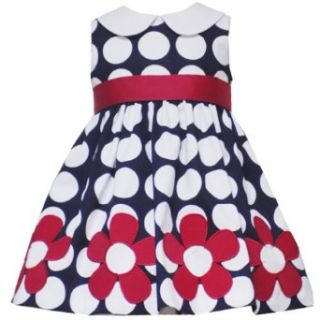 SIZE 18M,RRE 38531 NAVY BLUE WHITE POLKA DOT FLORAL BORDER Special Occasion Flower Girl Spring Summer Party Dress,Rare Editions E838531 Clothing