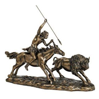 "Shop 10"" Native American Indian Buffalo Sculpture Statue Figurine Bronze Finish at the  Home D�cor Store"