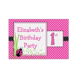 Cute Ladybugs 1st Birthday Name   Pink Yard Signs