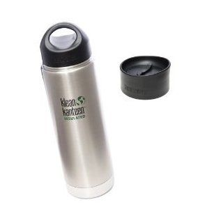"16 OZ. Klean Kanteen Wide Mouth Vacuum Insulated Water Bottle with Loop Cap AND CAFE CAP   Brushed Stainless Steel BPA FREE (Keeps liquid hot and cold for hours)Double walled vacuum ""PERFECT COMMUTER"""