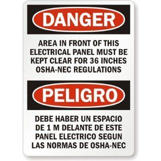 "Danger Area In Front Of This Electrical Panel Must Be, Heavy Duty Aluminum Sign, 63 mil, 18"" x 12"" Industrial Warning Signs"