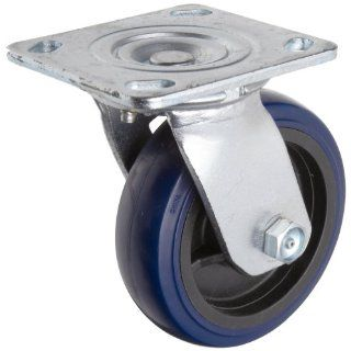 "RWM Casters S65 Series Plate Caster, Swivel, Kingpinless, Rubber on Aluminum Wheel, Stainless Steel Plate, Stainless Steel Ball Bearing, 700 lbs Capacity, 4"" Wheel Dia, 2"" Wheel Width, 5 5/8"" Mount Height, 4 1/2"" Plate Length, 4"" P"