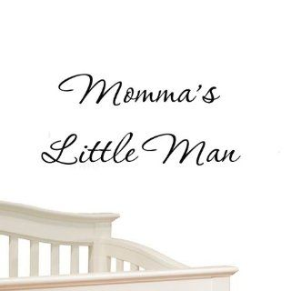 Momma's Little Man Nursery Wall Decals Cute Baby Quote Vinyl Nursery Wall Qutoes for Boys Room   Wall Decor Stickers