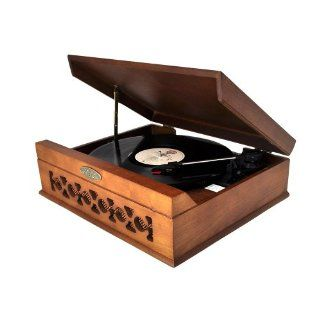 Pyle Home PVNTT6UMT Vintage Style Phonograph/Turntable with USB To PC Connection (Dark Maple) Electronics