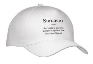 EvaDane   Funny Quotes   Sarcasm noun the brains defense against the less intelligent.   Caps   Adult Baseball Cap Clothing