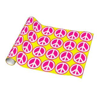 Neon Pink Peace Sign Gift Wrap