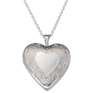 Silver Plate Pendant Necklace Heart Locket   Silver