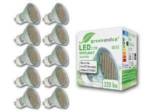 10er Pack greenandco� GU10 LED Spot 3,2W / 220lm / 3000K (warmwei�) / 60 x 3528 SMD LED / 120� Abstrahlwinkel / 230V AC / mit Schutzglas Beleuchtung