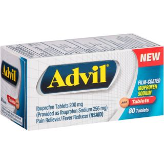 Advil Ibuprofen Pain Reliever/Fever Reducer Tablets, 200mg, 80 count Medicine Cabinet