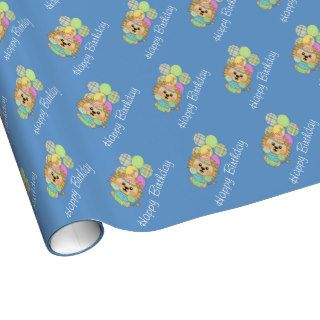 Happy Birthday Cute Party Lion Gift Wrap Paper