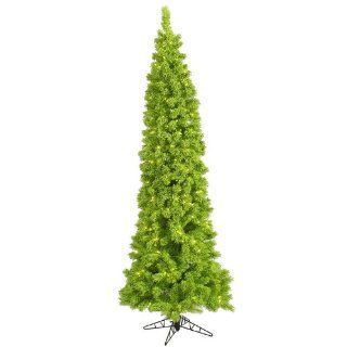 4.5' Pre Lit Lime Green Flocked Pencil Artificial Christmas Tree   Green Lights