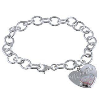 "Sterling Silver 7"" Opal 'Mom' Heart Charm Bracelet for Mother's Day Jewelry"