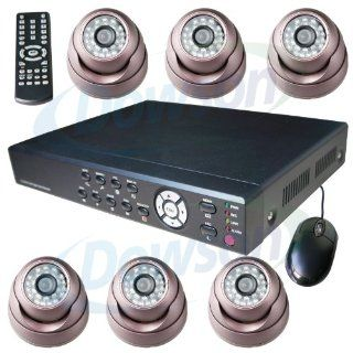 CCTV Surveillance Video System 8 Channel H.264 DVR with 6x Sony Color CCD Armour Dome IR Day/Night Indoor/Outdoor Security Cameras 6 60ft Siamese Cables and Power Adapter Unit included Internet Access and Smartphone & 3G Mobile Phone Live ViewPlug n