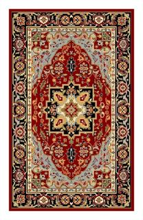 Lyndhurst Collection Oriental Red/ Black Rug (33 X 53)