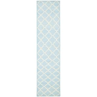 Safavieh Hand woven Moroccan Dhurrie Light Blue/ Ivory Wool Rug (26 X 12)