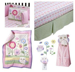 5 pc Circo Baby Girl Owls and Floral She's my Friend Collection  Includes Owls and Floral 3 Pc Nursery set (comforter, sheet, dust ruffle), Floral Crib Bumper, Petit Fleur Diaper Stacker, Owl Night light, & Petit Fleur Owls and FloralCirco Wall Ar