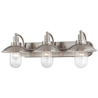 Minka Lavery 5133 84 3 Light Bathroom Vanity Light with Clear Shade from the Downtown Edison Collecti, Brushed Nickel   Vanity Lighting Fixtures