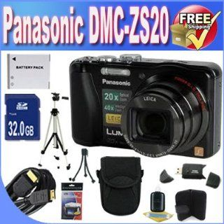 Panasonic Lumix ZS20 14.1 MP High Sensitivity MOS Digital Camera with 20x Optical Zoom + 32GB SDHC Class 10 Memory + Extended Life Battery + USB Card Reader + Memory Card Wallet + Deluxe Case w/Strap + Mini HDMI to HDMI Cable + Shock Proof Deluxe Case + Pr