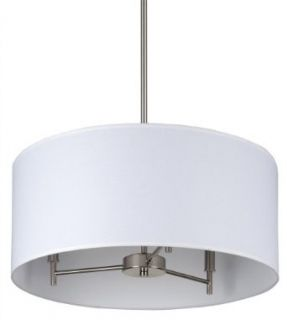 Walker 3 Light Drum Pendant Finish Brushed Nickel, Shade Color White Linen