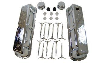 Racer Performance 1962 85 Ford Small Block 260 289 302 351W Chrome Steel Engine Dress Up Kit   Flamed Automotive