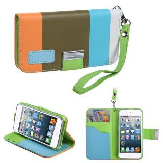 IMAGITOUCH(TM) 4 Item Combo APPLE iPod touch (5th generation) Colorful(Sky blue Olive green Light orange) Premium Book Style Wallet Case with Credit Card Slot (855) (Stylus pen, ESD Shield bag, Pry Tool, Phone Cover) Cell Phones & Accessories