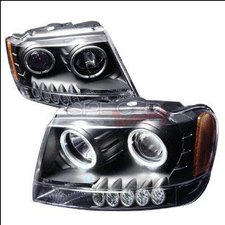 Jeep Grand Cherokee 1999 2000 2001 2002 2003 2004 LED Halo Projector Headlights   Black Automotive