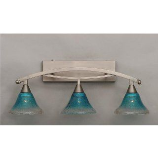 "Bow 3 Light Bath Vanity Light Finish Brushed Nickel, Shade 7"" Teal Crystal Glass   Vanity Lighting Fixtures"