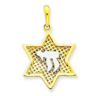 14K Two Tone Gold Star Of David Chai Pendant Charm Jewelry