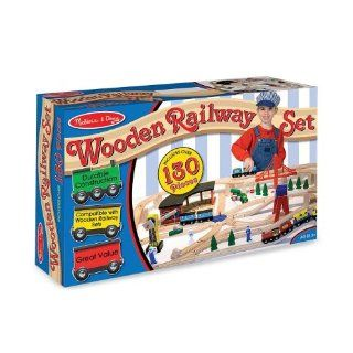 Melissa & Doug Deluxe Wooden Railway Set Toys & Games