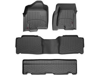 2011 2012 GMC Yukon Denali XL Black WeatherTech Floor Liner (Full Set) [2nd Row Bench Seating] Automotive