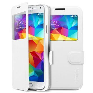 Galaxy S5 Case, Spigen� [Stand Feature] Samsung Galaxy S5 Case Flip [Flip View] [Metallic White] *2 Year Warranty* Premium Slim Flip Cover Folio Case with View Window for Galaxy S5 / Galaxy SV / Galaxy S V   Metallic White (SGP10843) Cell Phones & Acc